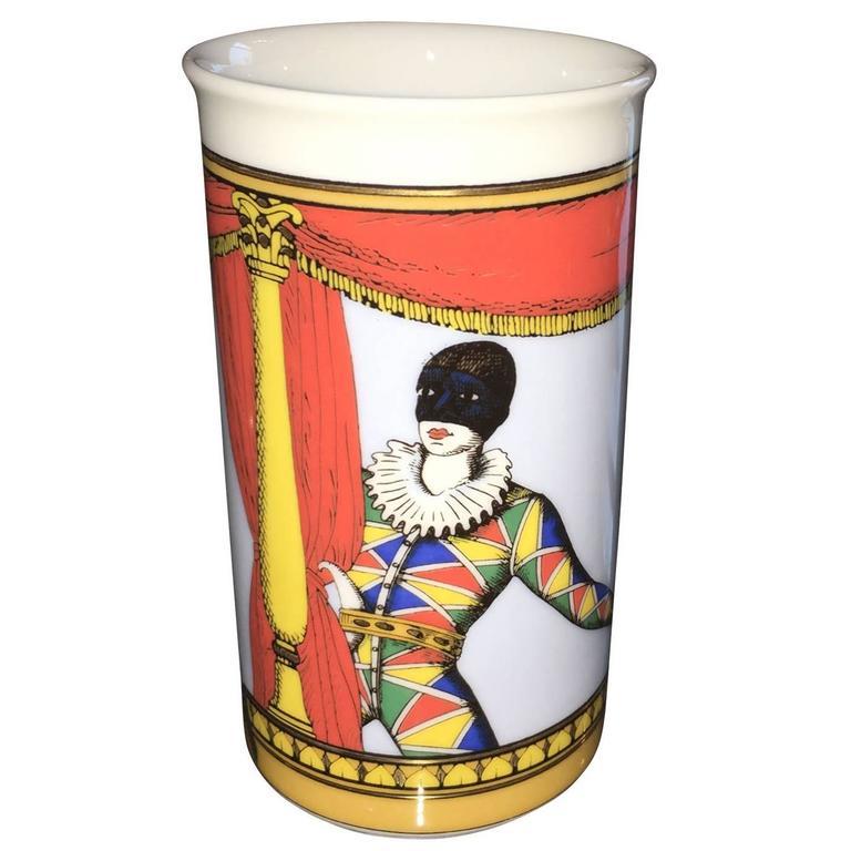 Signed Mid Century Modern Fornasetti for Rosenthal Court Jester Porcelain Vase