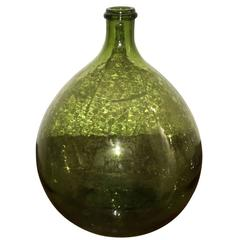 Argentinian Mid Century Modern Peridot Green Demijohn Wine Jug