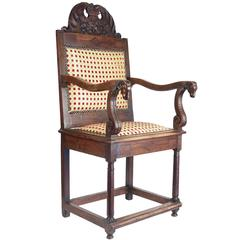 Ceremonial Chair of Carved Walnut 17th Siècle