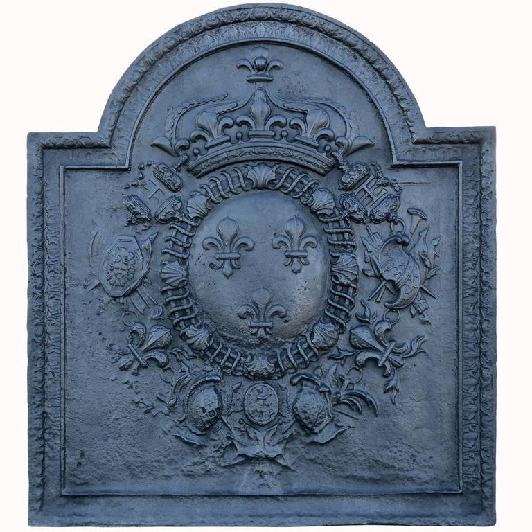 Important French Louis the 14th Period Cast Iron Fireback, 17th Century