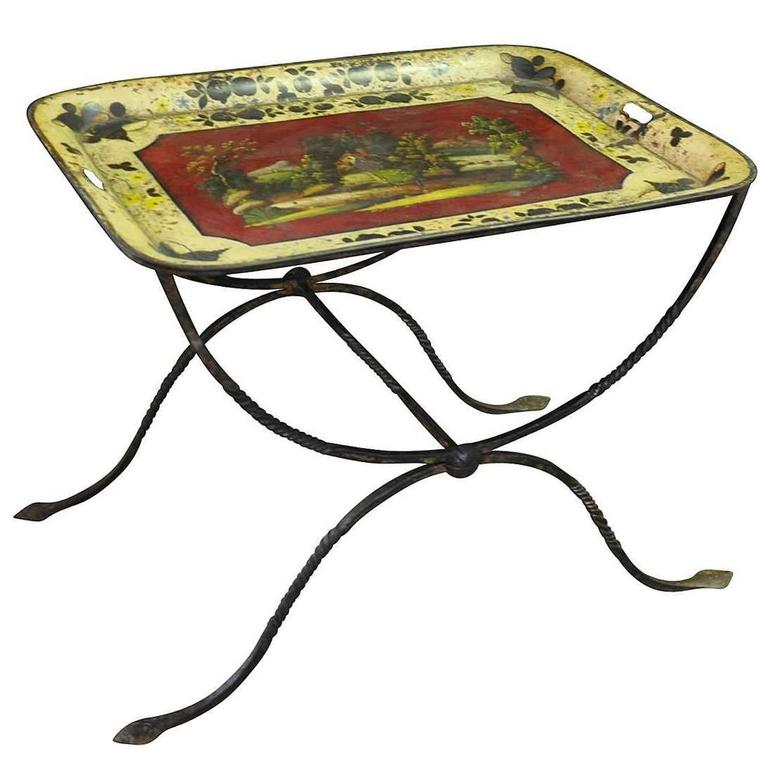 French 19th Century Tole Tray Side Table