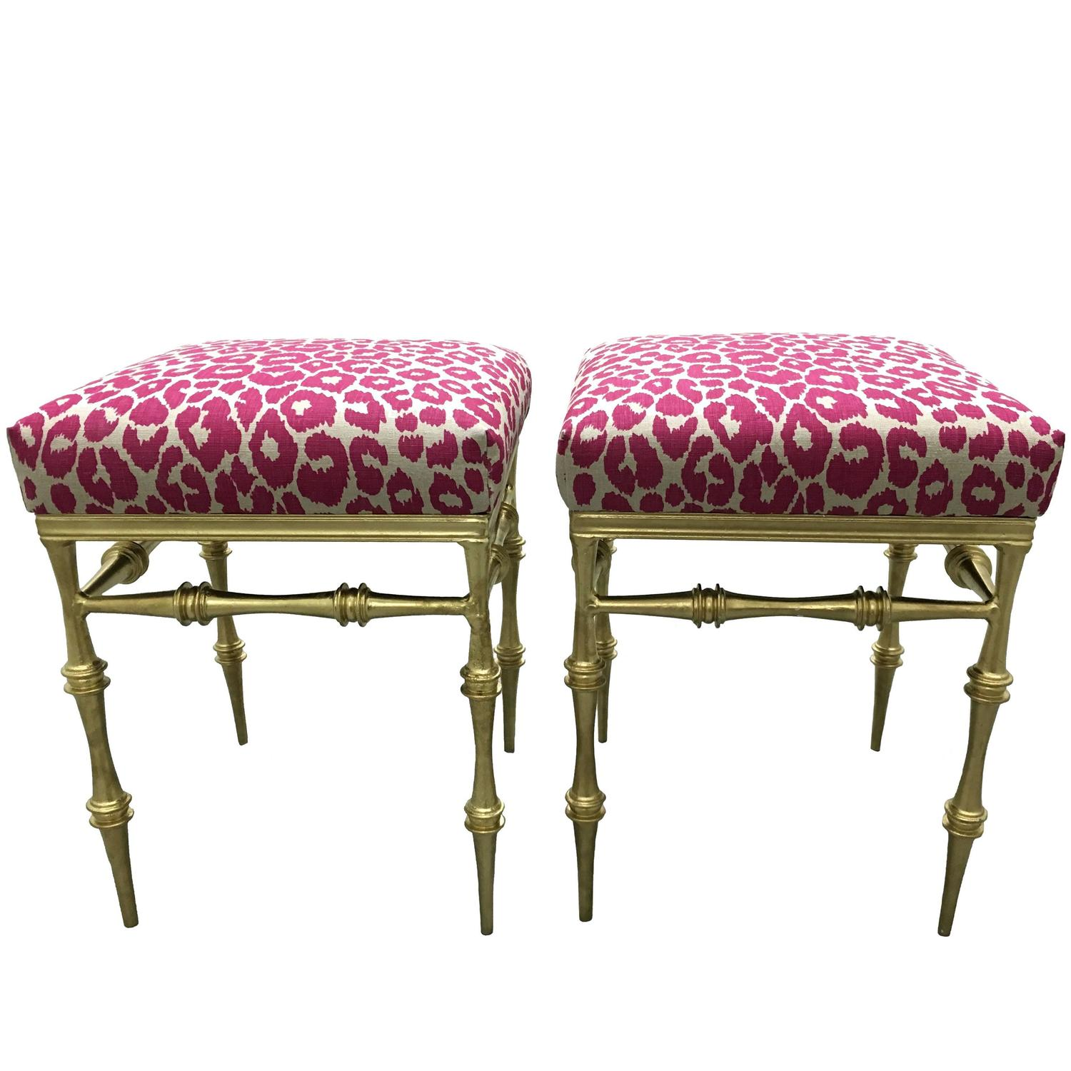 Pair Of Gilt Metal Pink Leopard Benches For Sale At 1stdibs