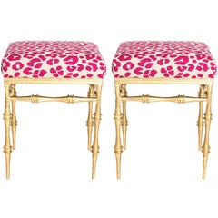 Pair of Gilt Metal Pink Leopard Benches