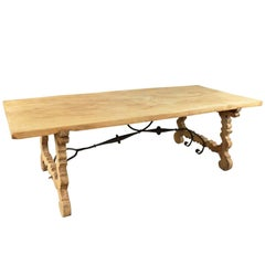 Spanish 19th Century Farm Table, Trestle Table in Bleached Oak