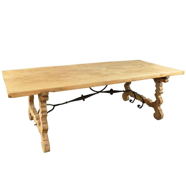 Spanish 19th Century Farm Table, Trestle Table in Bleached Oak For Sale