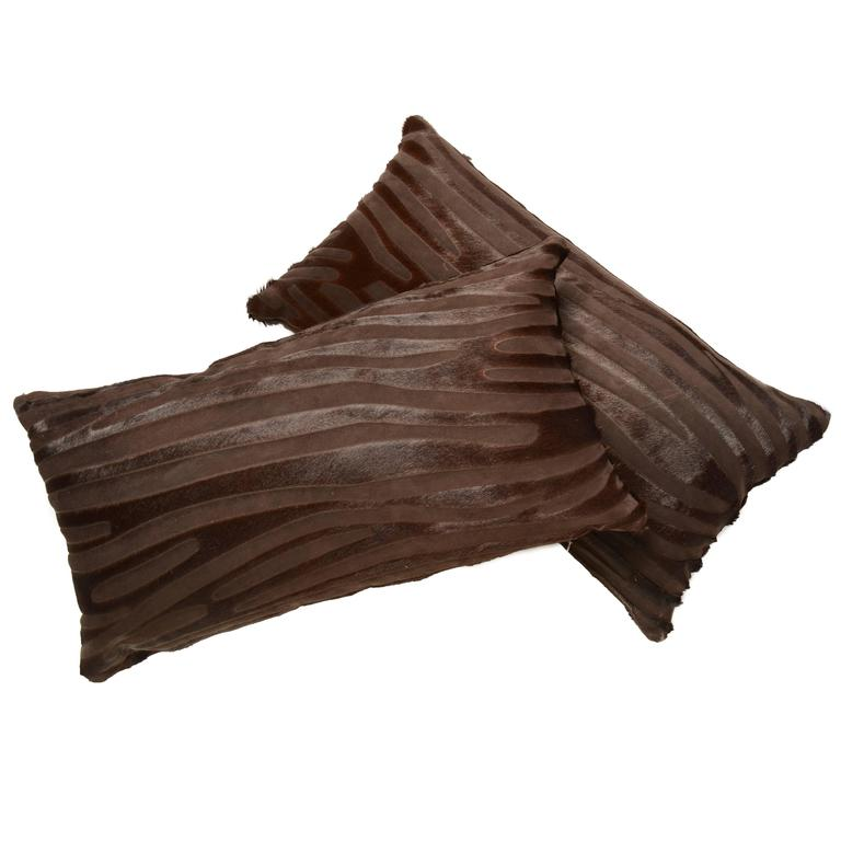Pair of Contemporary Laser Cut Zebra Print Cowhide Hair Lumbar Pillows For Sale