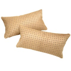 Beige Laser Cut Cowhide Hair Lumbar Pillow