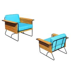 Pair of Wroughtan Iron and Rattan Ski Club Chairs by Shirley Ritts California