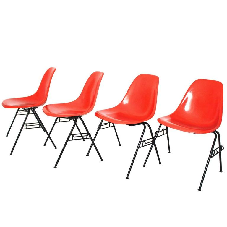 Mid Century Modern Red Vintage Dining Chairs Charles Ray Eames Chairs 1950s  For Sale
