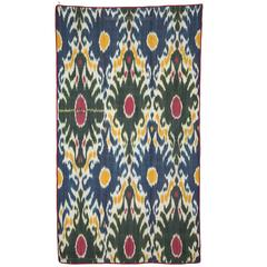 19th Century Silk Warp, Cotton Weft, Uzbek Ikat Panel 4'5'' x  5'8''