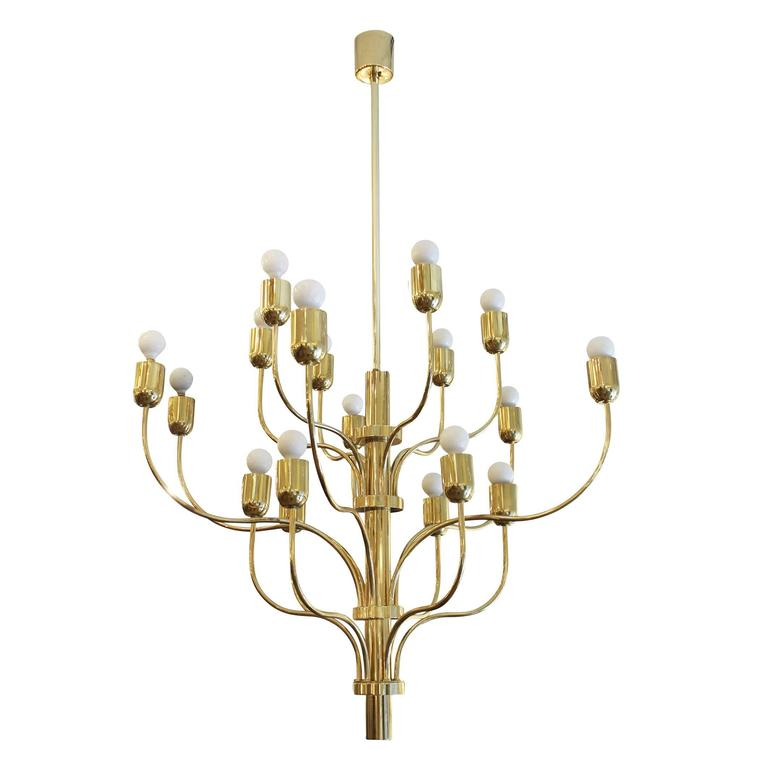 Graceful Eighteen-Arm Brass Chandelier, Italy, 1960s For Sale