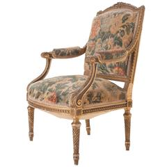 French 19th Century Louis XVI Gold Gilt Fauteuil with Tapestry Upholstery