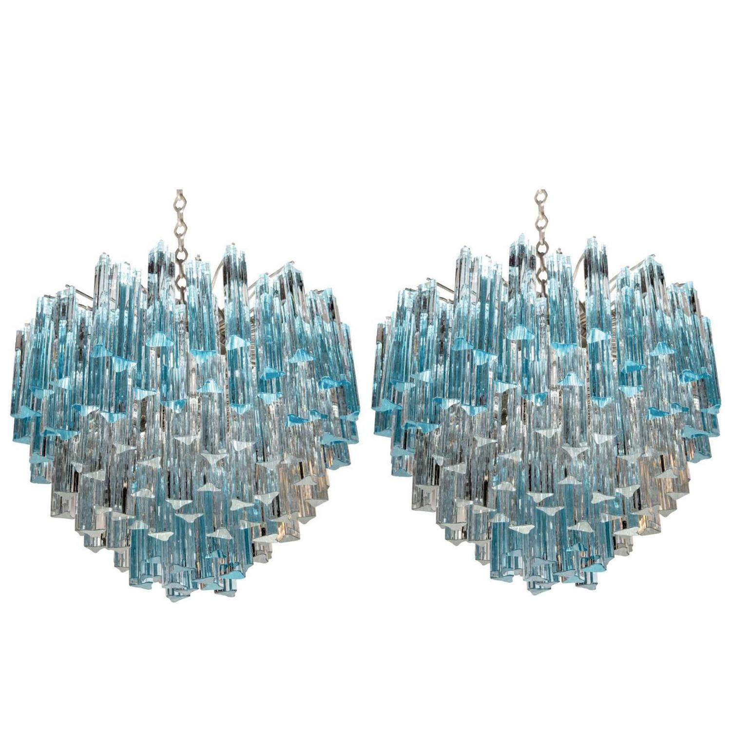 Rare and Spectacular Pair of Italian Aquamarine Chandeliers
