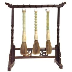 Set of Jade Calligraphy Brushes on Rosewood Stand
