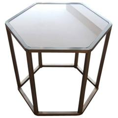 Hexagonal Brass and Glass Table