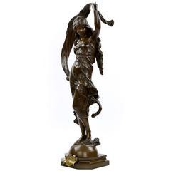 Large Bronze Sculpture of L'Aurore After Model by Auguste Moreau, circa 1900