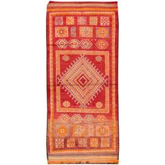 Vintage 1940s Red and Orange Moroccan Rug, 5.10x13.02