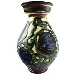 Kähler, Denmark, Glazed Stoneware Vase 1930s Beautiful Glaze