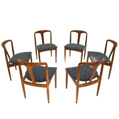 "Set of Six Danish Teakwood Dining Chairs ""Juliane"" by Johannes Andersen, 1960s"