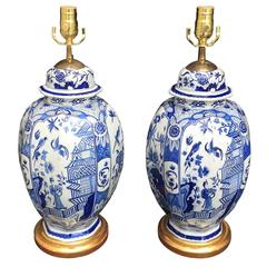 Pair of 18th Century Dutch Delft Lamps