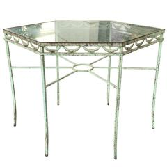 Quality Octagonal Iron Garden Table, Probably Salterini