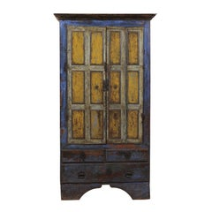 Early 19th C. Wood 2-Door Cabinet w/Drawers and Original Paint in Blue & Yellow
