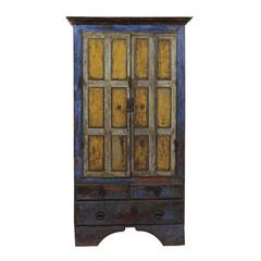 Early 19th Century Wooden Cabinet with Original Paint