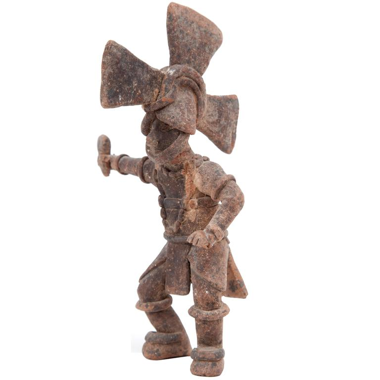 Antique Mexican Clay Warrior Figure For Sale