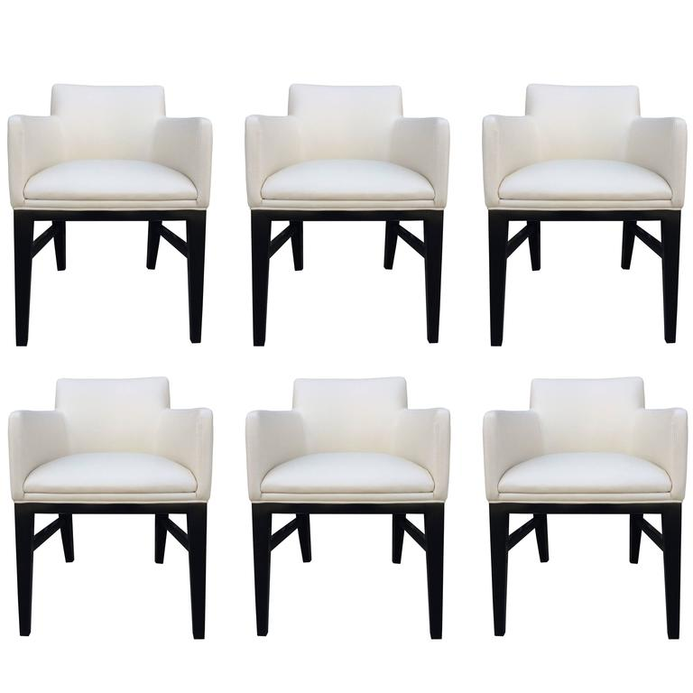 Stunning Set of Six Dunbar Style Vintage Chairs For Sale