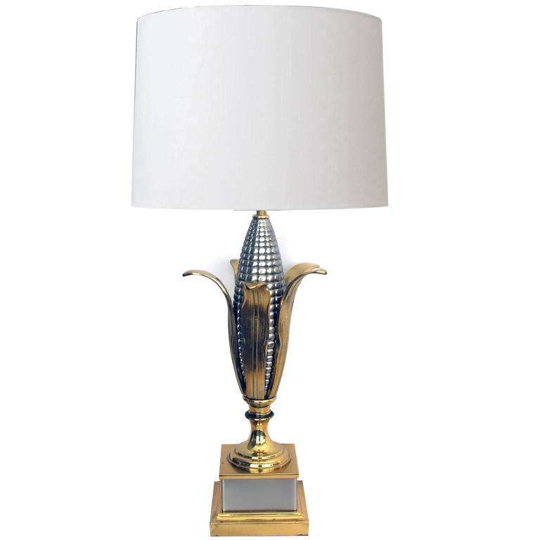 Good Quality French 1960s Brass & Chrome Corn Cob Lamp, Style of Maison Charles