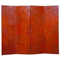 Unique Venetian Stucco Four-Panel Screen in Red
