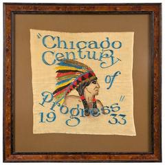 1933 Chicago World's Fair Century of Progress Framed Souvenir Tapestry
