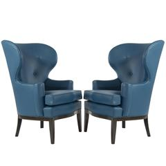 Pair of Early Wingback Chairs by Edward Wormley for Dunbar, circa 1940s