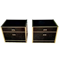 Pair of Black Lacquer and Brass End Tables for Simat, France, circa 1970