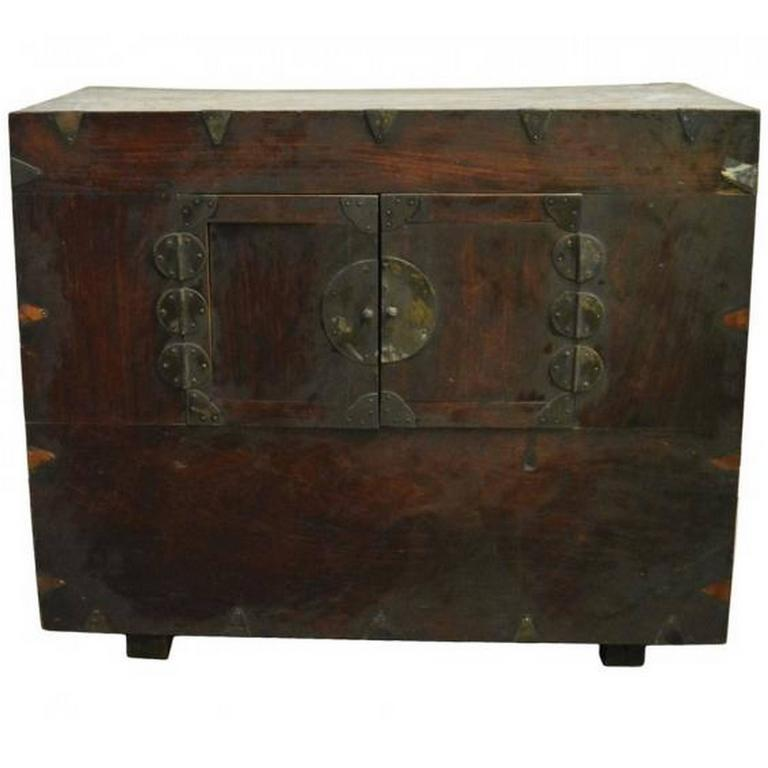 19th Century Brown Lacquered Wood Korean Chest with Traditional Brass Hardware