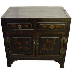 Early 20th Century Hand-Painted Dark Brown Chinese Cabinet with Floral Motifs