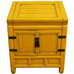 19th Century Chinese Yellow Lacquer Cabinet with Brass Hardware and Hinged Top
