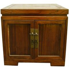 Antique Chinese Brown Lacquered Bedside Cabinet with Brass Hardware, circa 1900
