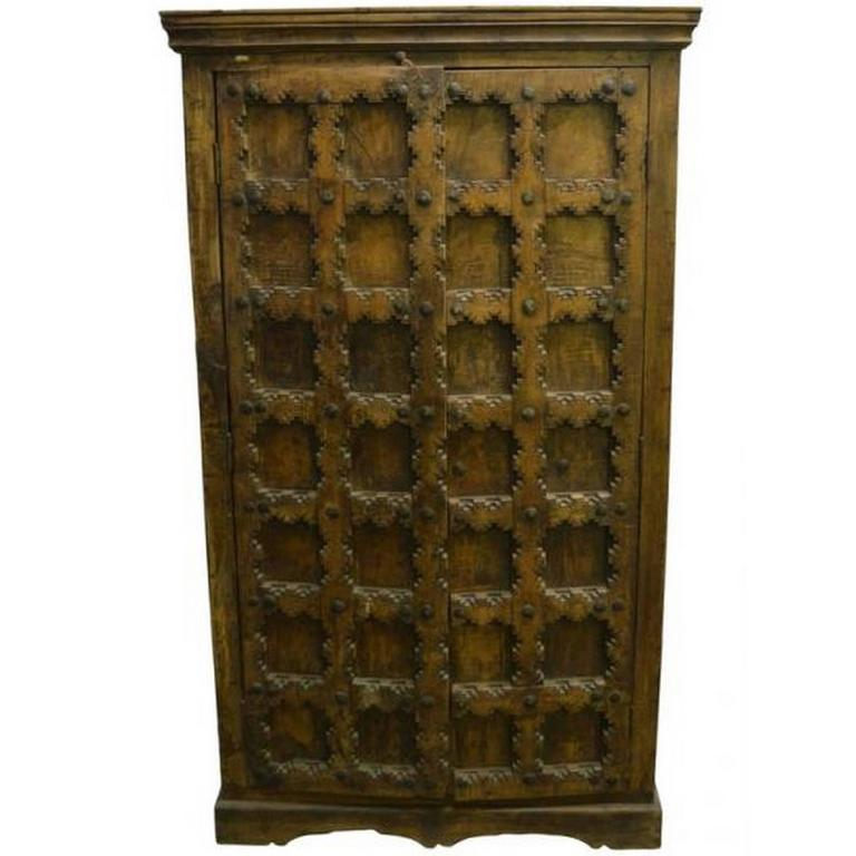 Indian Cabinet or Armoire with Hand-Carved Doors from 20th Century For Sale  sc 1 st  1stDibs & Indian Cabinet or Armoire with Hand-Carved Doors from 20th Century ...