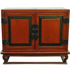 Antique Red Lacquer Bedside Cabinet with Hardware from Mid 19th Century China