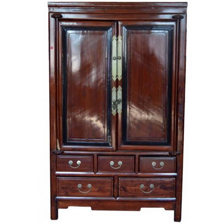 Antique blackwood and rosewood lacquered chinese cabinet for Antique asian cabinet