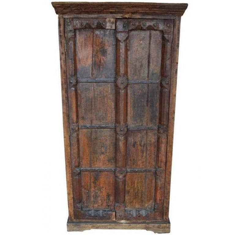 Indian Hand Carved Wood Cabinet With Three Shelves With Floral Motifs 1
