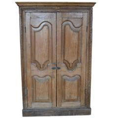 Antique Indian Tall Rustic Cabinet with Carved Doors from the 19th Century