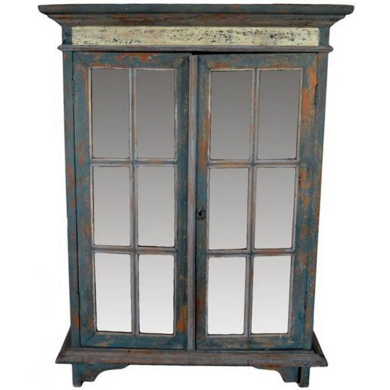 Rustic Hand Carved Goan Indian Cabinet With Glass Doors From The