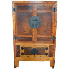 19th Century Chinese Antique Armoire with Burl Wood Panels and Brass Hardware