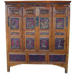 19th Century Antique Chinese Wide and Large Hand-carved Gilt Wooden Cabinet