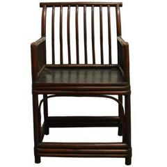 19th Century Chinese Dark Brown Lacquered Chair with Stretcher