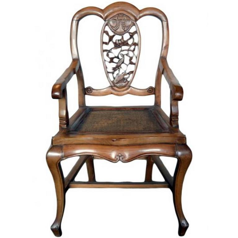 Ordinaire Antique 19th Century Chinese Carved Chair With Hand Carved Pierced Splat  For Sale