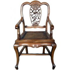 Antique 19th Century Chinese Carved Chair with Hand-Carved Pierced Splat
