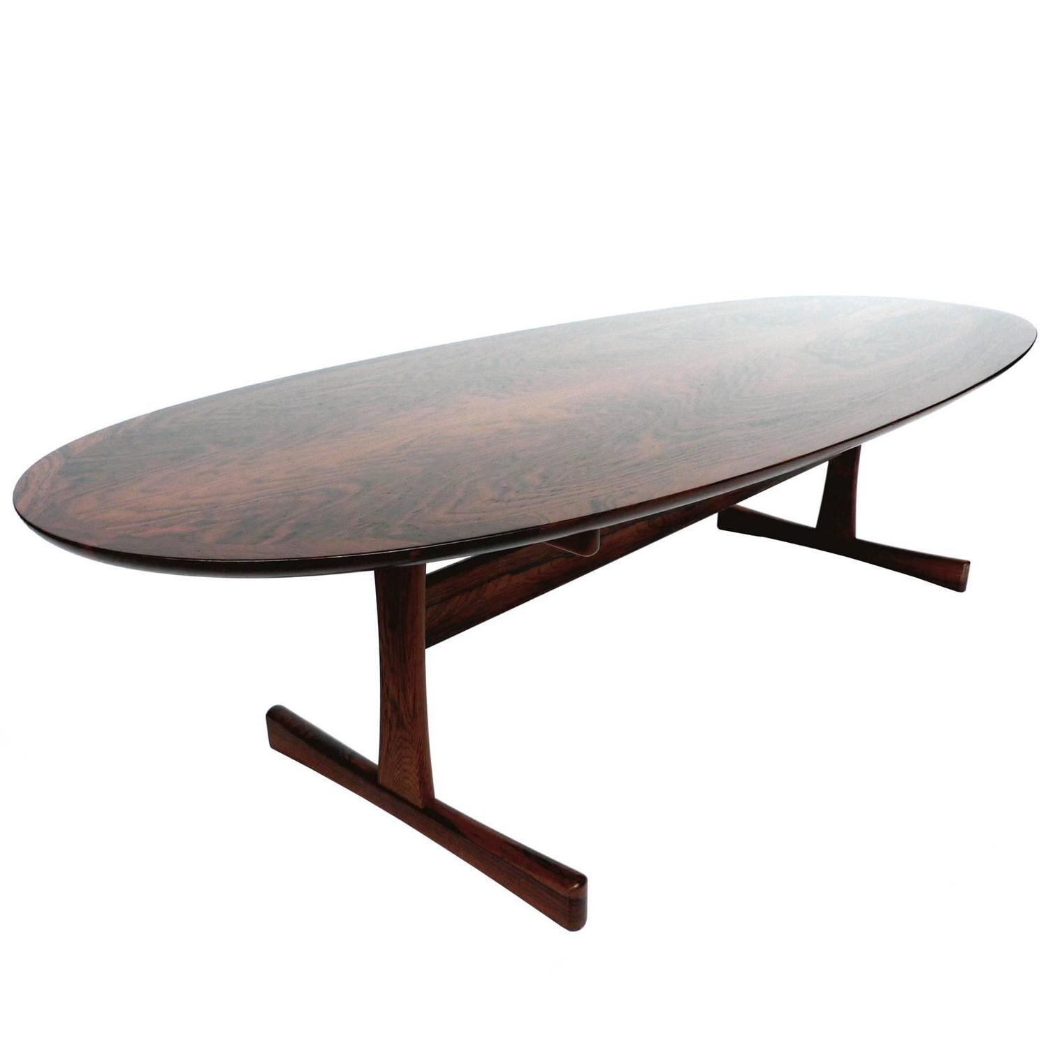 Mid Century Oval Rosewood Coffee Table in the Style of Brode
